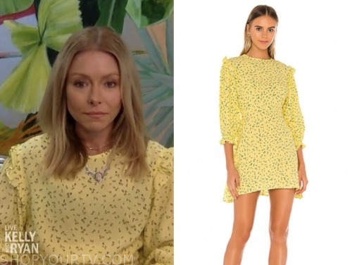 live with kelly and ryan, kelly ripa, yellow printed dress