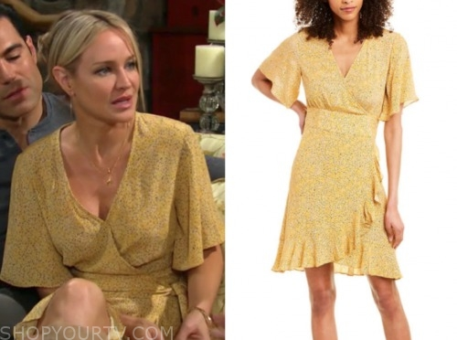 sharon case, sharon newman, the young and the restless, yellow printed wrap dress