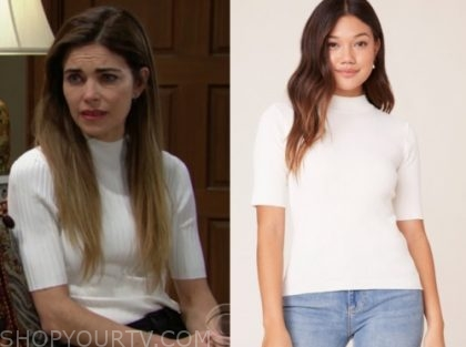 victoria newman, amelia heinle, the young and the restless, white ribbed top