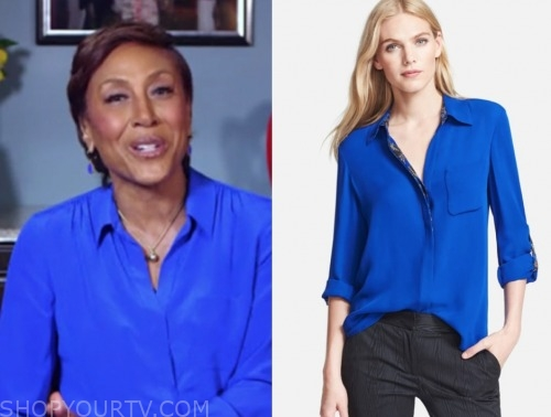 good morning america, blue blouse, robin roberts