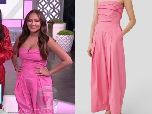 the real, pink strapless jumpsuit, adrienne bailon