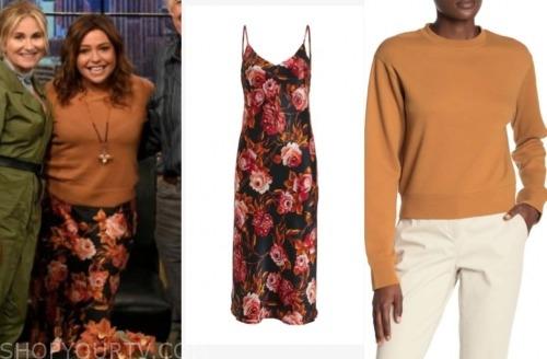 rachael ray, the rachael ray show, orange sweater, floral dress