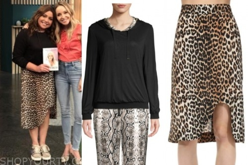 rachael ray, the rachael ray show, black hoodie sweater, leopard skirt