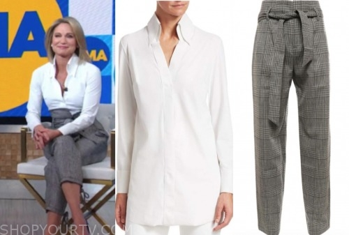 amy robach, good morning america, white shirt, gingham pants