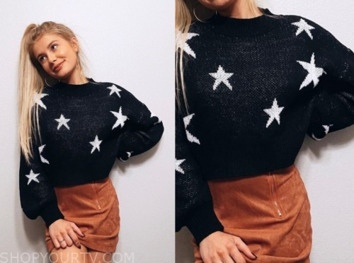 the bachelor, demi burnett, black and white star sweater