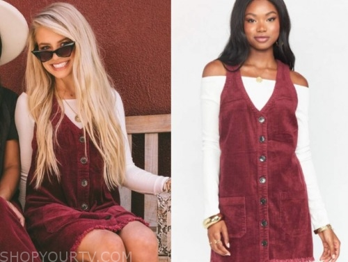 the bachelor, demi burnett, white off-the-shoulder top, burgundy corduroy dress