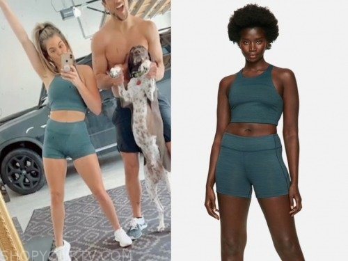 jojo fletcher, the bachelorette, teal sports bra and shorts