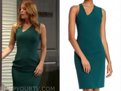 phyllis newman, michelle stafford, green sheath dress, the young and the restless