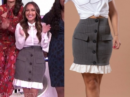 adrienne bailon, the real, pinstripe skirt