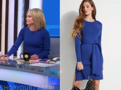 amy robach, blue knit dress, good morning america