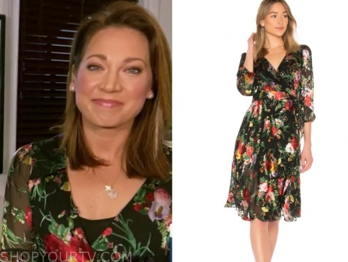 ginger zee, floral wrap dress, good morning america
