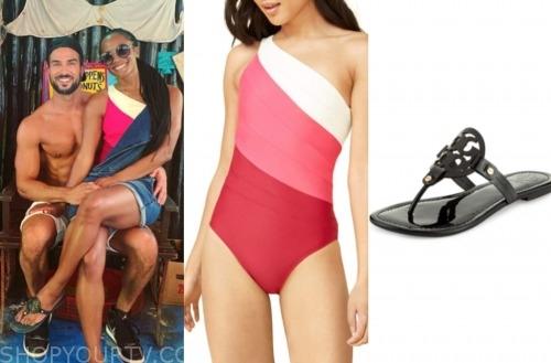colorblock swimsuit, rachel lindsay, black sandals