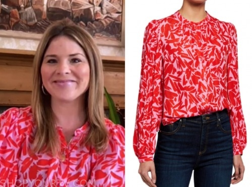 jenna bush hager, the today show, pink and red floral blouse