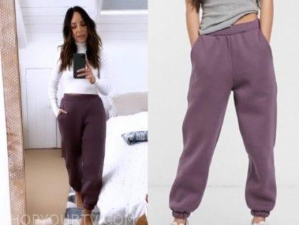 lilliana vazquez, purple sweatpants, E! news