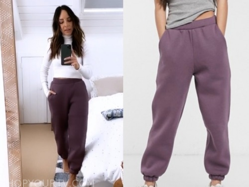 lilliana vazquez, purple sweatpants, E! news