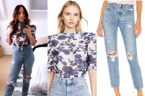 E! news, lilliana vazquez, floral top, ripped jeans