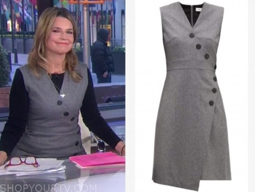 savannah guthrie, grey asymmetric button sheath dress, the today show