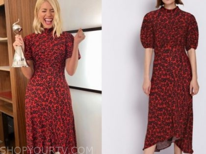 holly willoughby, this morning, red floral midi dress