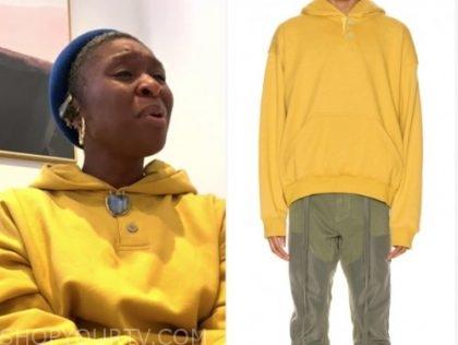 gma, cynthia erivo, yellow hoodie sweater