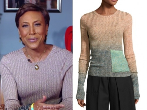 robin roberts, good morning america, ombre knit top