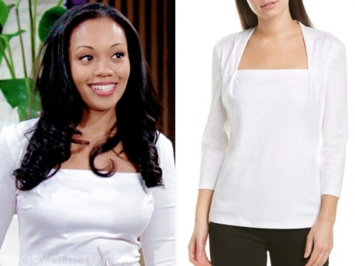 mishael morgan, the young and the restless, amanda sinclair, white top