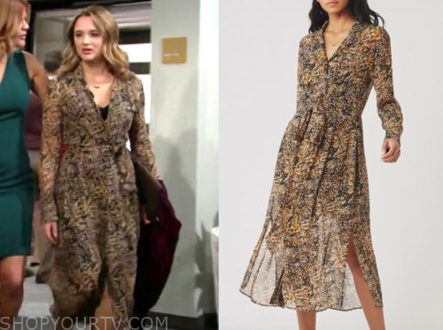 summer newman, hunter king, leopard midi dress, the young and the restless