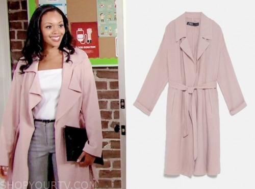 amanda sinclair, the young and the restless, mishael morgan, pink trench coat