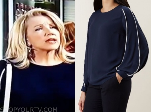 nikki newman, melody thomas scott, navy blouse, the young and the restless