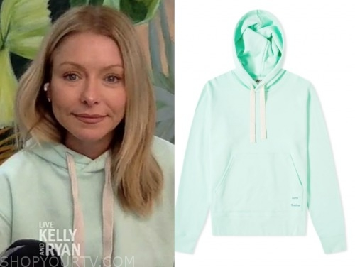 kelly ripa, mint green hoodie sweater, live with kelly and ryan