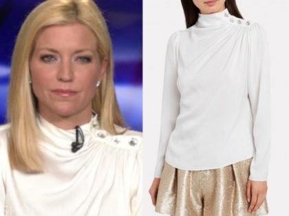 ainsley earhardt, white button shoulder top, fox and friends