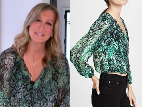 good morning america, green snakeskin blouse, lara spencer