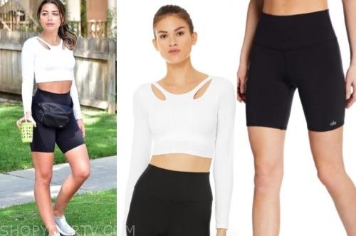 hannah ann sluss, white cutout top, black biker shorts