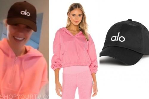 cassie randolph, the bachelor, pink hoodie, black cap