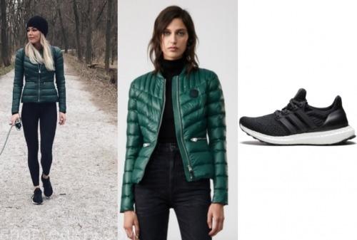 kelsey, the bachelor, green jacket, black sneakers