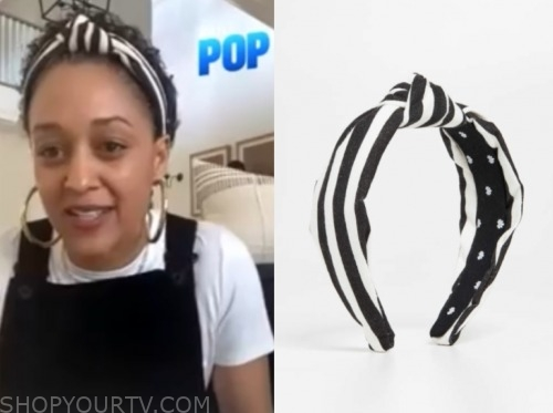 tia mowry, E! news, black and white striped headband