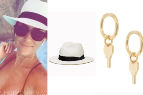 kristin cavallari, very cavallari, white hat, gold earrings