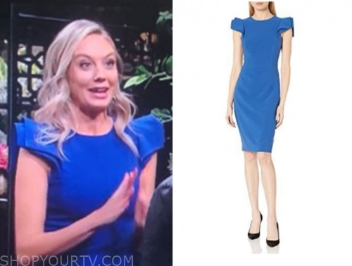 abby newman, the young and the restless, melissa ordway, blue sheath dress