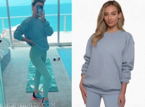 morgan stewart, blue sweatshirt, e! news
