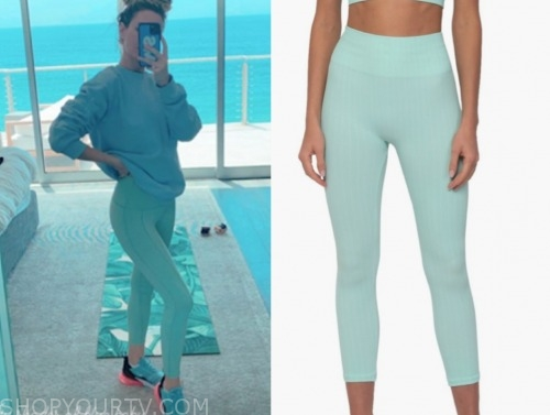 morgan stewart, seafoam leggings, e! news