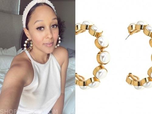 tamera mowry, the real, pearl hoop earrings