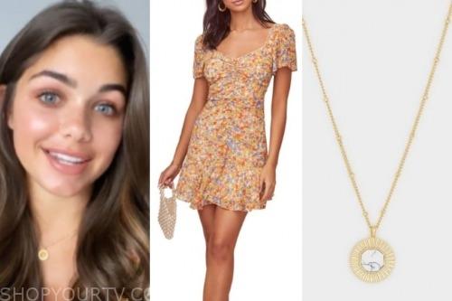 hannah ann sluss, the bachelor, floral dress, gold pendant necklace