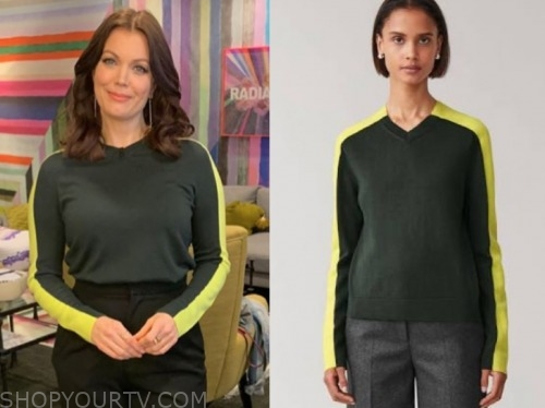 bellamy young, the kelly clarkson show, colorblock neon sweater