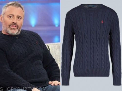 matt leblanc, the kelly clarkson show, blue cable knit sweater