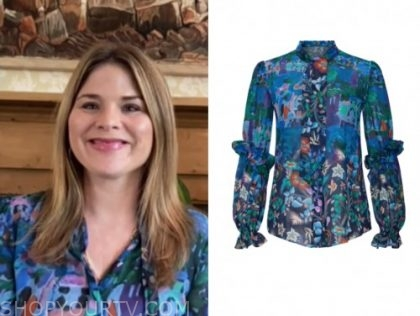 the today show, jenna bush hager, blue printed tie neck blouse