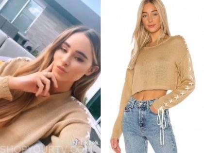 amanda stanton, beige lace-up sleeve sweater, the bachelor
