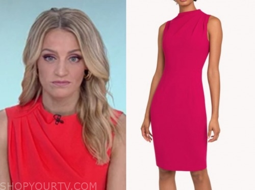 carley shimkus, fox and friends, pink drape sheath dress
