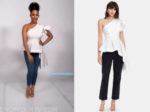 the real, white peplum one-shoulder top, tamera mowry