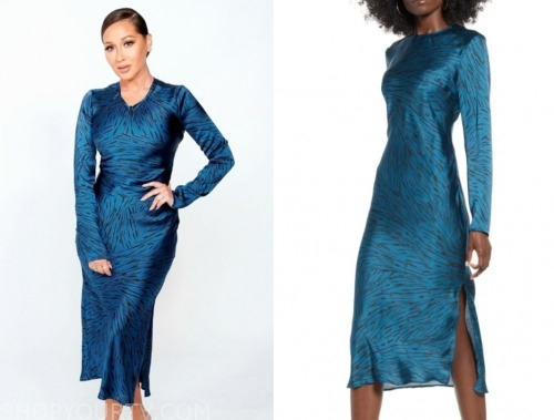 the real, adrienne bailon, blue satin dress