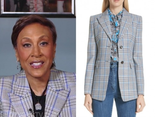 robin roberts, good morning america, plaid blazer