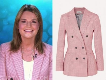the today show, savannah guthrie, pink check double breasted blazer